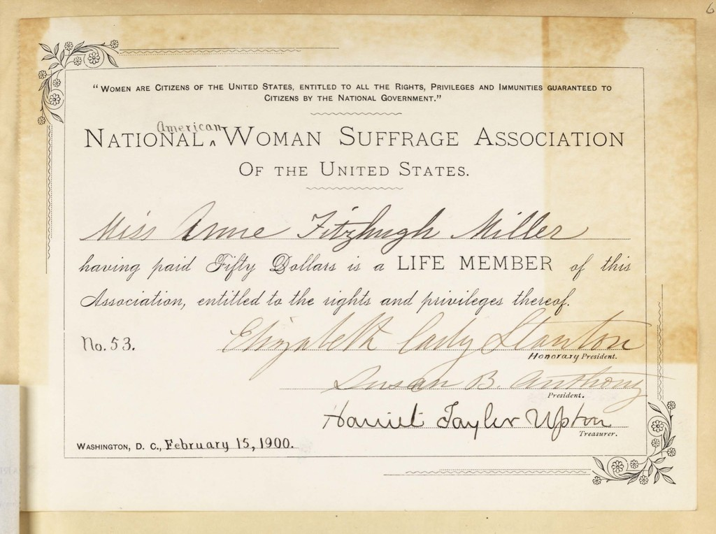 National American Woman Suffrage Association of the United States-Life Membership Certificate for Anne Fitzhugh Miller