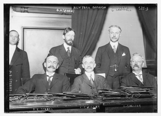 New York Borough Presidents together: G. McAneny, G. Cromwell, A.E. Steers, C.C. Miller, L.Gresser