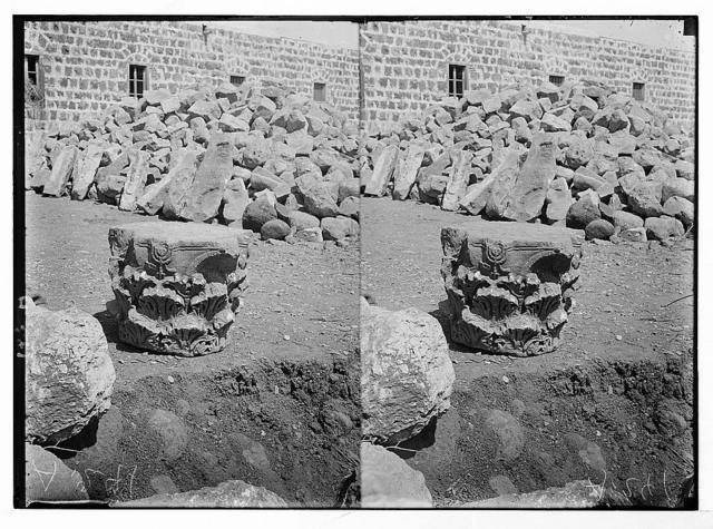 Northern views. Remarkable remains of the synagogue at Capernaum. Corinthian capitals with seven-branched candlestick