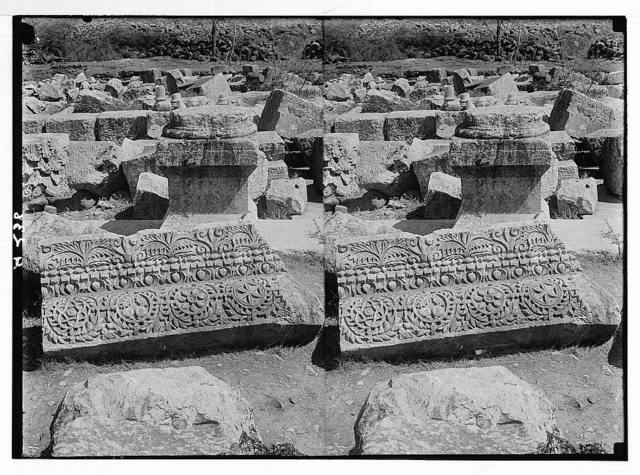 Northern views. Remarkable remains of the synagogue at Capernaum. Frieze and cornice showing pomegranates, grapes etc.