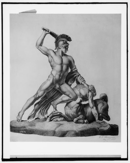 [Nude warrior with helmet battling centaur]