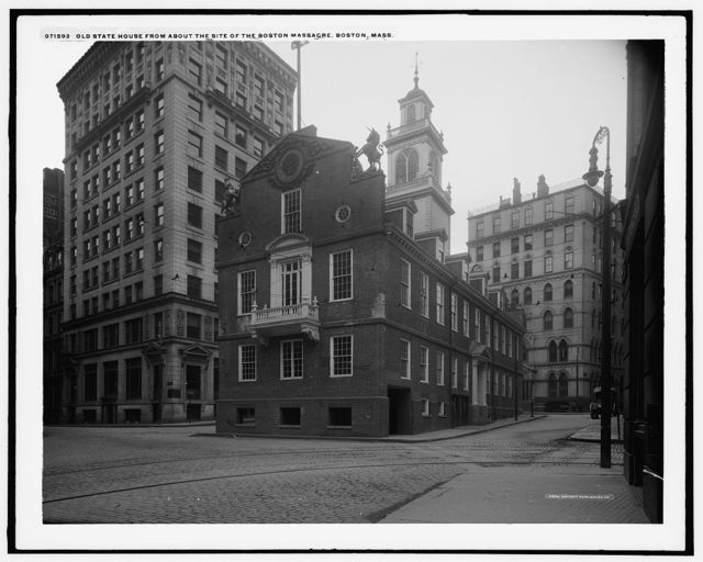 Old State House from about the site of the Boston Massacre, Boston, Mass.