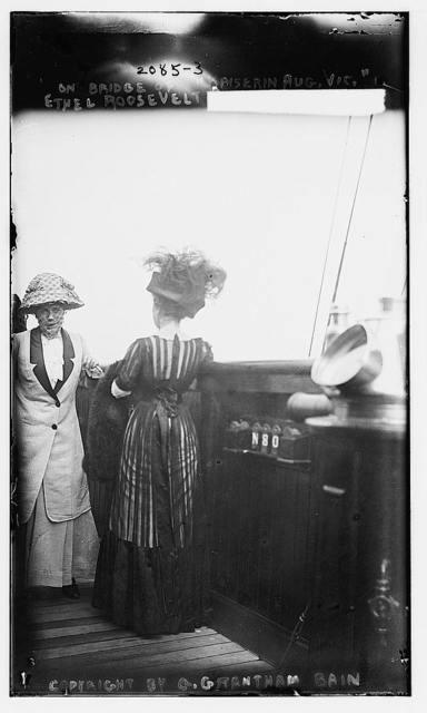 """On bridge of """"Kaiserin Aug. Vic.""""  Ethel Roosevelt"""