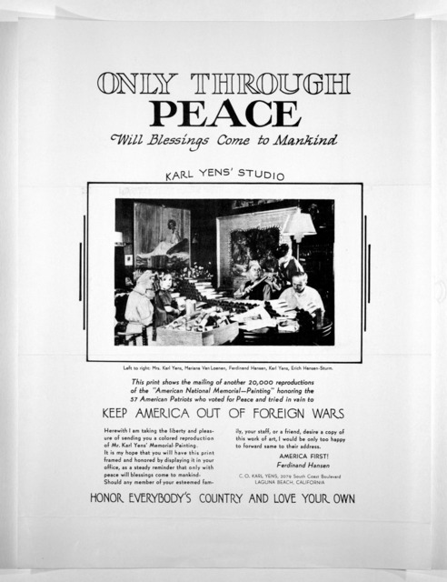 """Only through peace will blessings come to mankind ... this print shows the mailing of another 20,000 reproductions of the """"American national memorial---painting"""" honoring the 57 American patriots who voted for peace and tried in vain to keep Ame"""