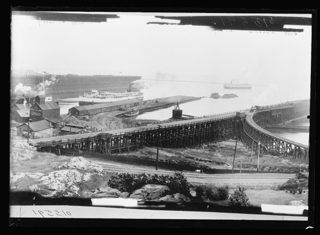 [Ore or coal docks and Anchor Line dock at the harbor, Marquette, Mich.]