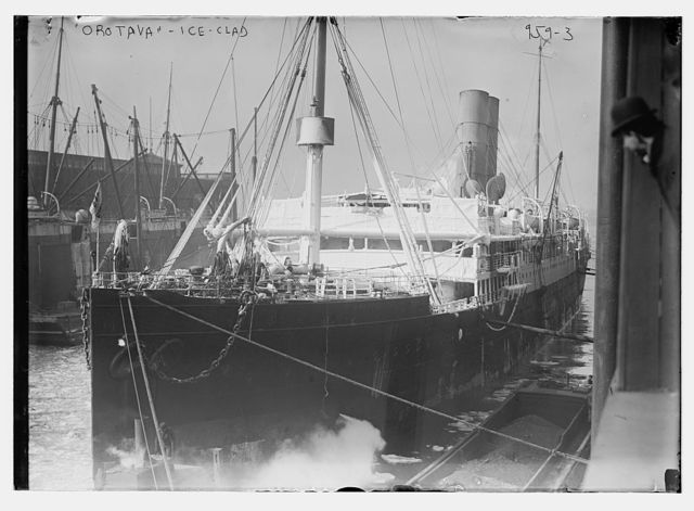 Orotava clad with ice at dock in New York harbor