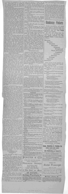 """Our Chinese policy. What we should forfeit in declaring war. """"Most favored nation"""" treaties to be preserved at all costs ... Horace N. Fisher. Boston, Sept. 25. Boston Transcript Thursday, September 27, 1900."""
