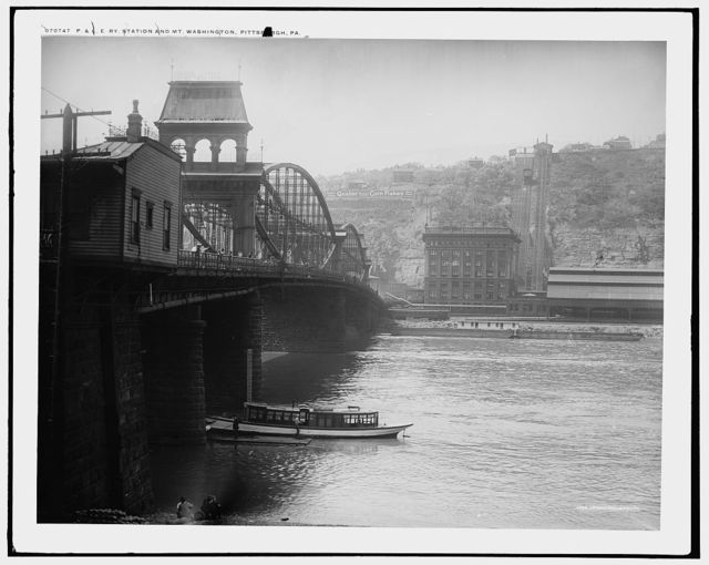 P. & L.E. Ry. [Pittsburgh and Lake Erie Railroad] station and Mt. Washington, Pittsburgh, Pa.