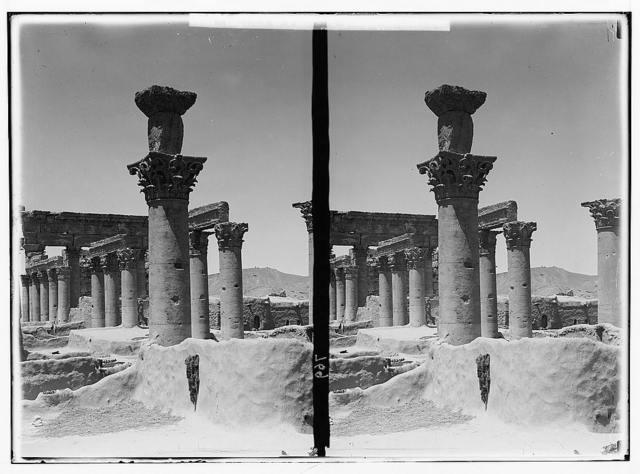 Palmyra (Tadmor). Capitals of pillars in Temple of the Sun