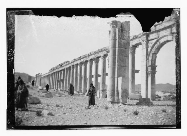 Palmyra (Tadmor). West half of colonnade, showing part of central arch