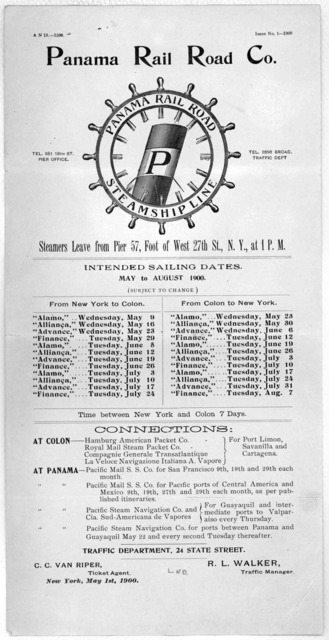 Panama railroad steamship line. Intended sailing dates May to August 1900 ... New York May 1st, 1900.
