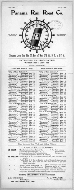 Panama railroad steamship line ... Intended sailing dates. October 1900 to July 1901 ... New York, October 17th, 1900.