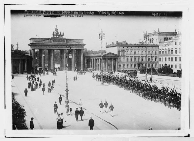 Pariser Platz and Brandenburger Thor, Berlin [Paris Place and Brandenburg Gate] seen from Hotel Adlon