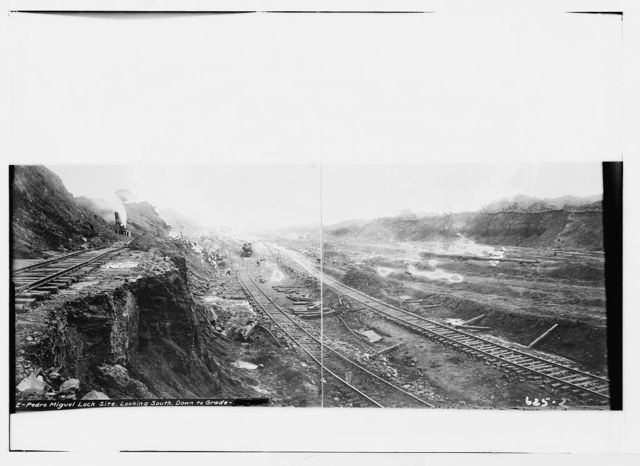 Pedro Miguel Lock site, excavations, looking south down to grade, Panama