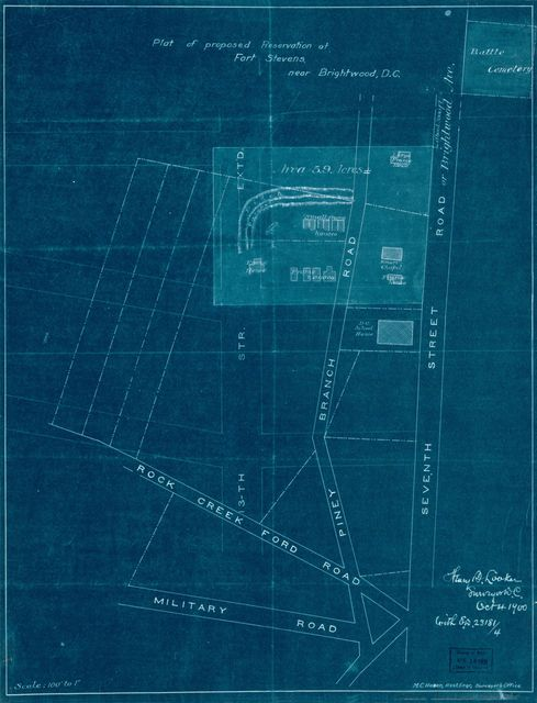 Plat of proposed reservation at Fort Stevens, near Brightwood, D.C. /