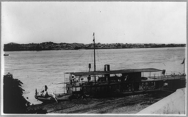 Portuguese government gunboat on the Zambesi River, used to preserve order among the natives, Tete, Mozambique, Africa