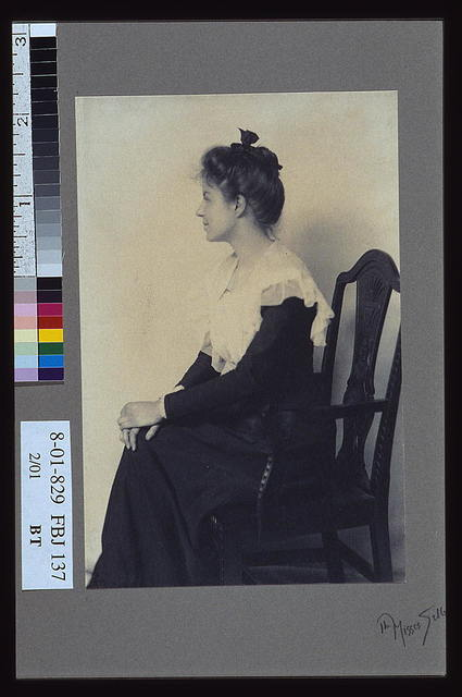 [Profile portrait of a woman seated in chair, facing left with hands on her knees] / the Misses Selby, N.Y.