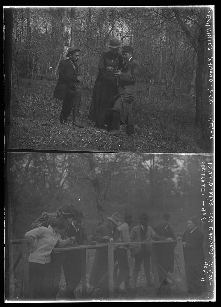 Prospectors examine diamond, Arkansas