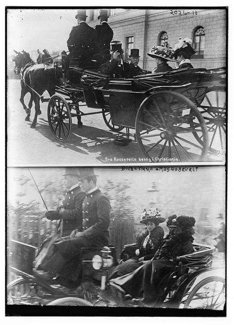 Queen Emma and Mrs. Roosevelt; Top frame: both in a carriage moving away from the photographer.; Bottom frame: carriage moving alongside photographer