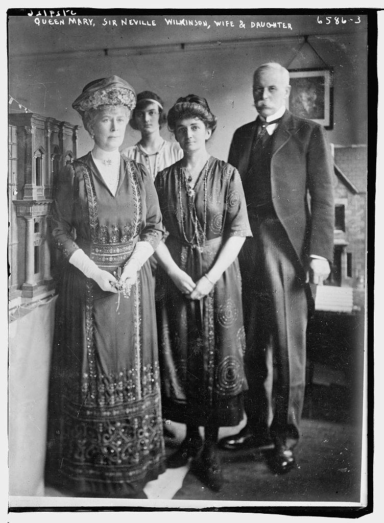 Queen Mary, Sir Neville Wilkinson, wife & dau.