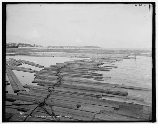 Raft timber for export, Pensacola Harbor