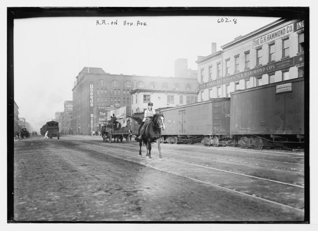 Railroad cars on 11th Ave., New York City