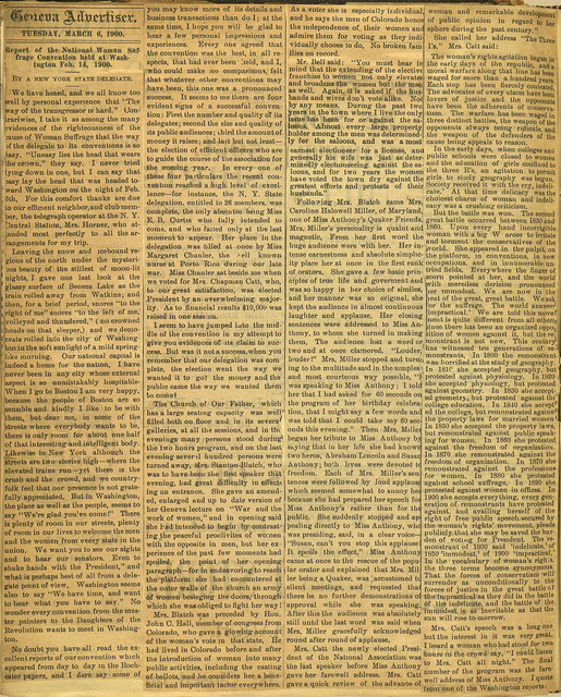 Report of the National Women Suffrage Convention held at Washington, February 14, 1900