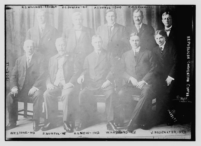Republican Convention Committee: Back row left to right, R.S. Williams (Ore.), E.C. Duncan (N.C.), A.I. Vorys (O.), F.W. Upham (Ill.), D.W. Mulvane (Kan.). Front row l to r, W.F. Stone (Md.), F. Murphy (N.J.), H.S. New (Ind.), W. Hayward (N.Y.), V. Rosewater (Neb.)