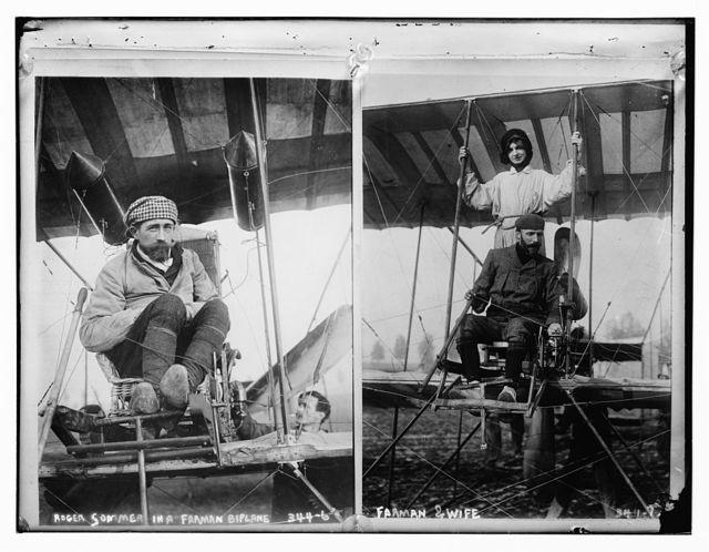 Roger Sommer in a Farman Biplane
