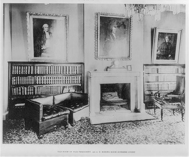 [Rooms in the U.S. Capitol: Old room of Vice President, 1900 A.D., Robing Room, Supreme Court]