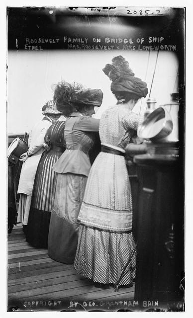 Roosevelt on bridge of ship; Ethel, Mrs. Roosevelt, Mrs. Longworth