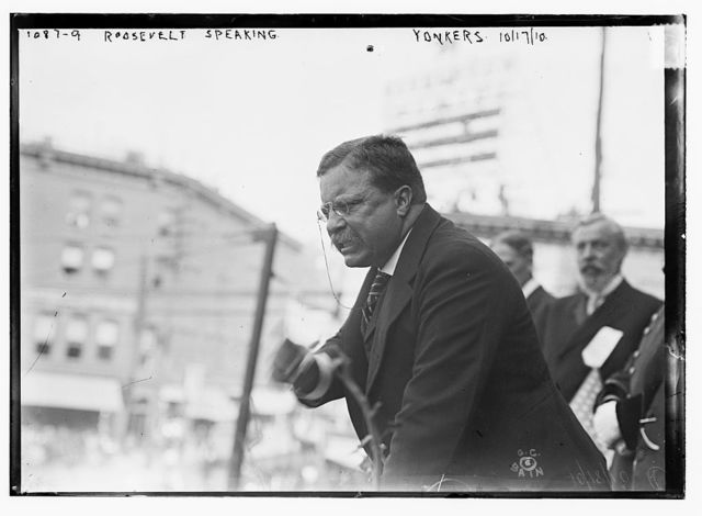 Roosevelt speaking outside, Yonkers, NY