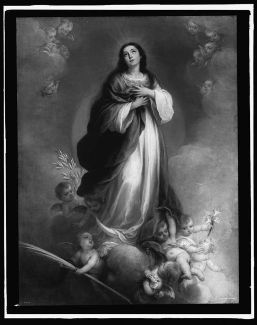 [Saint, possibly Virgin Mary, standing on cloud surrounded by cherubs]
