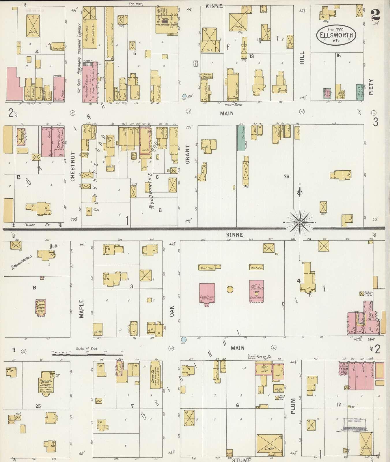 Sanborn Fire Insurance Map from Ellsworth, Pierce County, Wisconsin