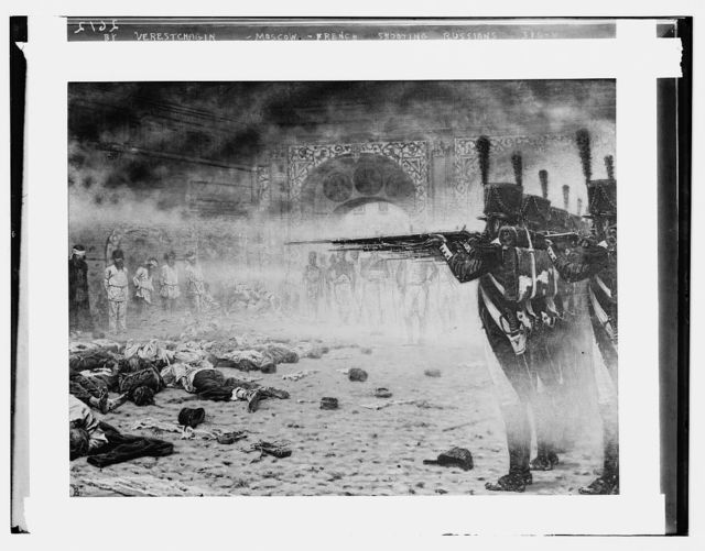 Scene by Verestchagin: Moscow: French Firing squad shooting Russ.