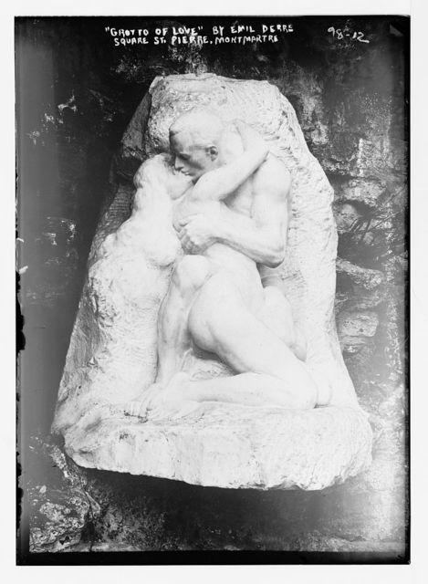 """Sculpture """"Grotto of Love"""", by Emil Derre, Square St. Pierre, Montmartre, Paris"""