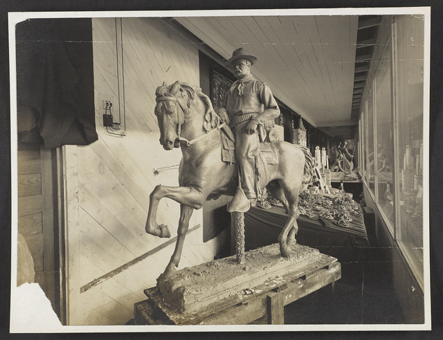 [Sculpture of Theodore Roosevelt seated on horse]