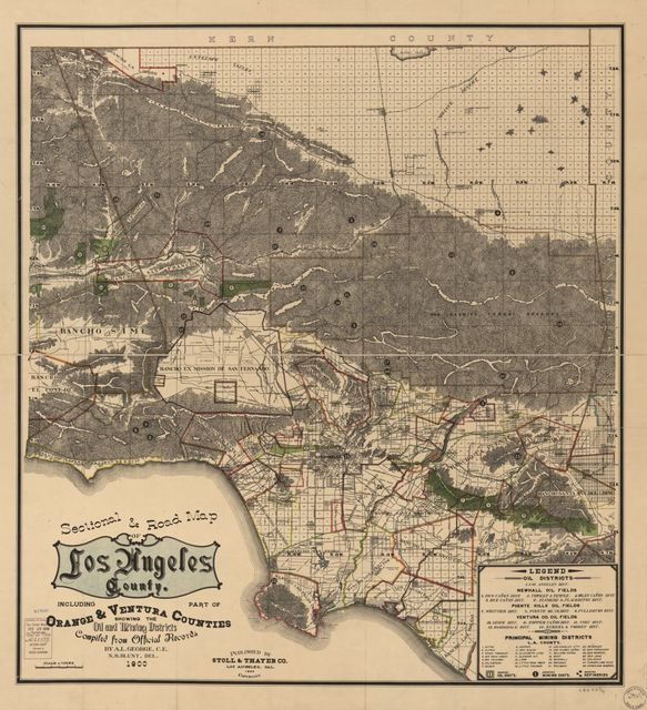 Sectional & road map of Los Angeles County : including part of Orange and Ventura counties, showing the oil and mining districts /