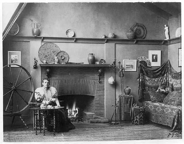[Self-portrait of photographer Frances Benjamin Johnston in her studio at 1332 V Street, N.W., Washington, D.C.]