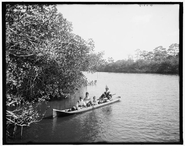 [Seminole Indian and family, in dug-out canoe, Miami, Fla.]