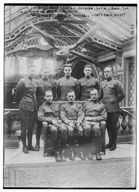 Sgt. J.M. Biedenback, Sgt. Hoffman, Sgt. Bealle, Sgt. Chapman, Sgt. McNally, Lt. W.J. Reed, Maj. J.G. Thornell, Capt. Dale Mabry