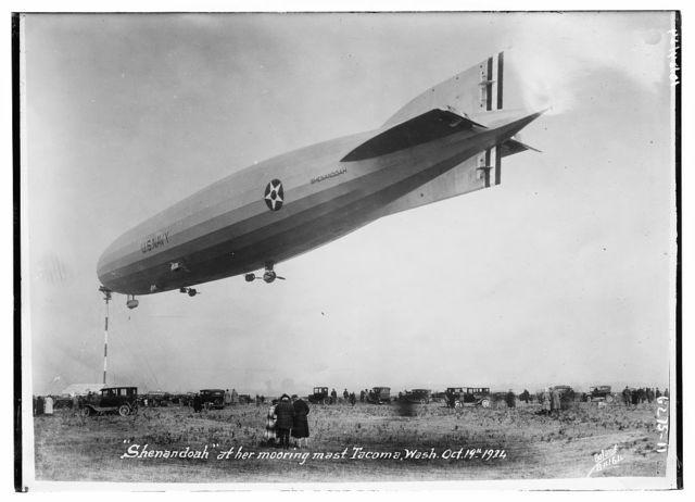 SHENANDOAH at her mooring mast Tacoma, Wash. Oct. 19th, 1921, blimp