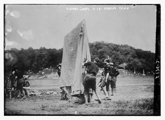 Signal Corp, USA, making camp