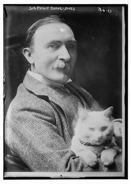 Sir Philip Burne-Jones, holding cat