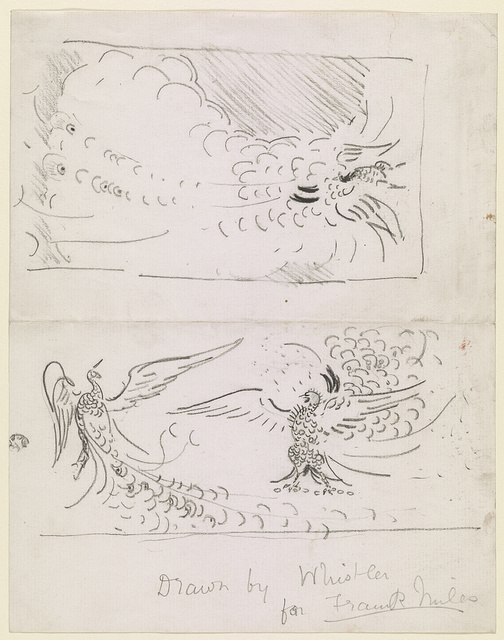 [Sketches of a peacock shutter and fighting peacocks]