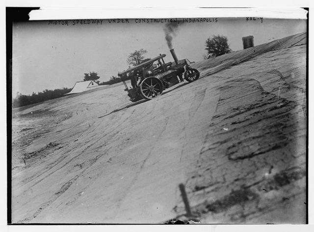 Speedway under construction, roller on track, Indianapolis