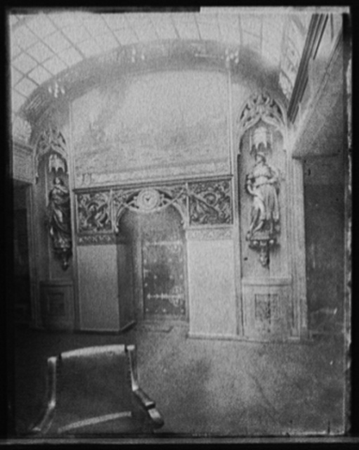[S.S. Deutschland, doorway with painting of Hamburg harbor]