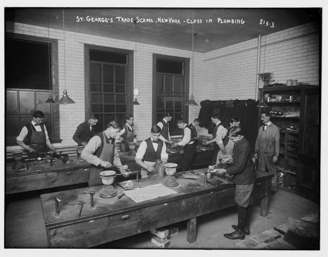 St. George's Trade School, N.Y.: Plumbing Class