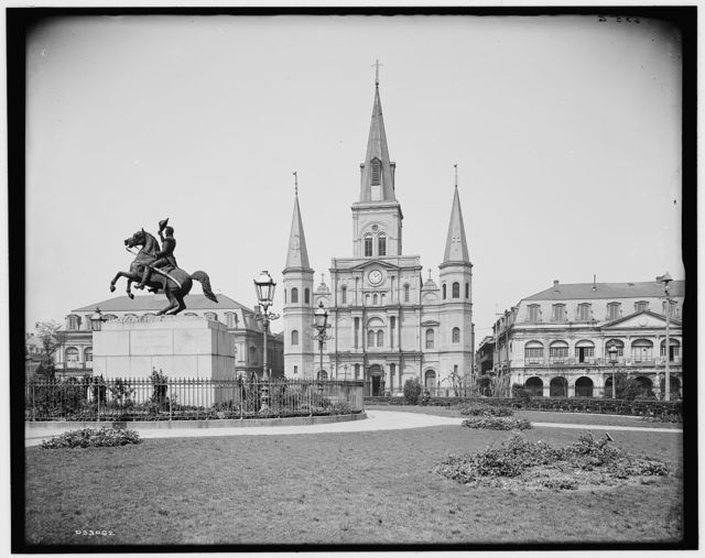 [St. Louis Cathedral and Jackson Monument, New Orleans, Louisiana]