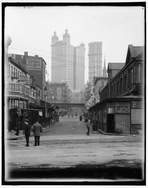 St. Paul and Park Row buildings from Vesey St., New York
